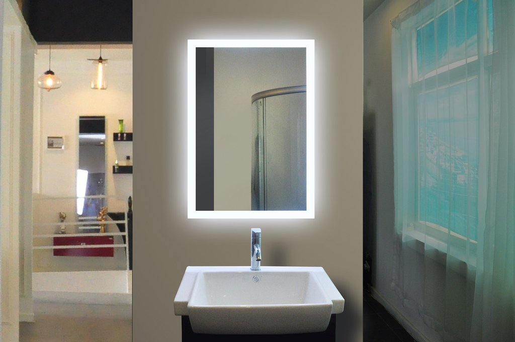 Bathroom Mirrors Backlit backlit bathroom mirror rectangle 20x28 in - the light house gallery