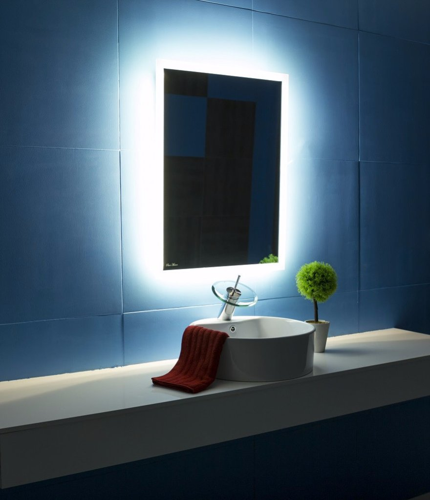 large illuminated bathroom mirror backlit bathroom mirror rectangle 24x32 in the light 19095
