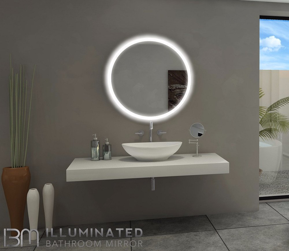 Backlit Bathroom Lighted Mirror Round 32x32 In The Light